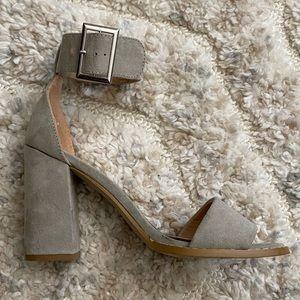 Grey Chunky Heels Ankle Strap Sandal Block Heel